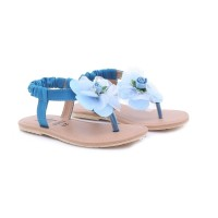 TDLR BLUE FLOWERS GIRL Sandals Sendal Kasual Anak Perempuan T 7008
