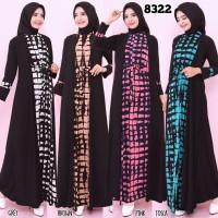 Baju Gamis Wanita Terbaru Gamis Serut Bahan Jersey Zipper Depan 8322