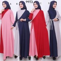 Baju Gamis Wanita Terbaru Gamis Bahan Mosscrepe Zipper Depan 9972
