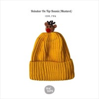 Hey Baby Reindeer On Top Beanie (Mustard)