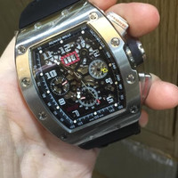 Jam Tangan Pria Richard Mille RM011 Silver Black Rubber