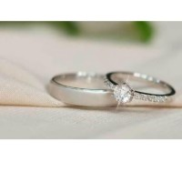 cincin nikah emas putih roku diamond lab - custom model