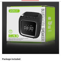 Speaker Robot Bluetooth with Clock Support TF AUX FM (RB530) - Hitam