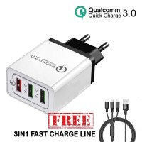 Charger Fast Charging 3 Port Qualcomm Quick Charge - FREE Kabel 3 in 1