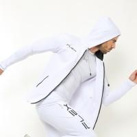 FJS-002PT FLEXZONE Sport Jacket Hoodie - Putih by JJ Sport