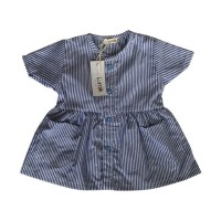 Short Blue Stripes Button Dress
