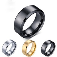 Cincin Nikah Tungsten Murni Hitam Silver Emas 8Mm untuk Pria