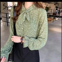 Green woman's blouses chiffon bow neck flare long sleeve shirts 2019
