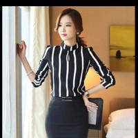Korean Style Women Blouse Hollow Out Long Sleeve Striped Chiffon