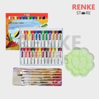 Paket Gambar Lukis - Cat Acrylic Akrilik Titi 24 Kuas Palet Set