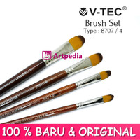 V-TEC Brush 8707 Set 4 - Kuas Lukis Set 4 / Kuas Vtec