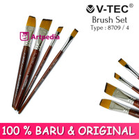 V-TEC Brush 8709 Set 4 - Kuas Lukis Set 4 / Kuas Vtec
