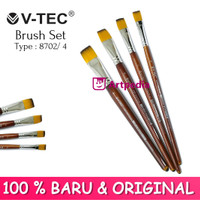 V-TEC Brush 8702 Set 4 - Kuas Lukis Set 4 / Kuas Vtec