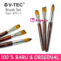 V-TEC Brush 8711 Set 3 - Kuas Lukis Set 3 / Kuas Vtec