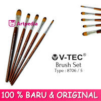 V-TEC Brush 8706 Set 5 - Kuas Lukis Set 5 / Kuas Vtec