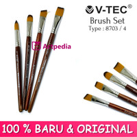 V-TEC Brush 8703 Set 4 - Kuas Lukis Set 4 / Kuas Vtec