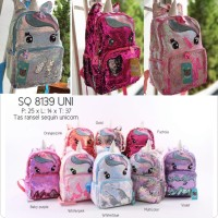 Tas Ransel Besar Anak Sekolah Sequin Unicorn - A016