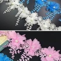Aplikasi Bunga (19biji) / Renda Bunga / Crochet Bunga / Embelishment