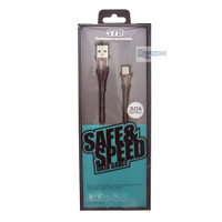 Kabel Data Type C3A FAST Charging & Transfer with Cord Protector Black