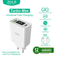 Zola Turbo Max Charger Led Display QC 3.0 & PD For Ipad pro & Macbook