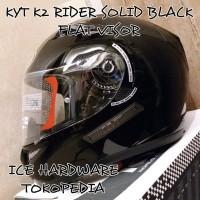 Helm Motor Full Face Flat Visor KYT K2 Rider Solid Black Hitam Murah