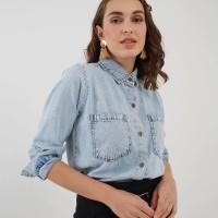 Berrybenka Daffi denim shirt light blue