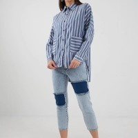Berrybenka Carvina stripe shirt navy