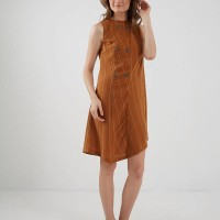 Berrybenka Taylor Button Cut Dress Brown