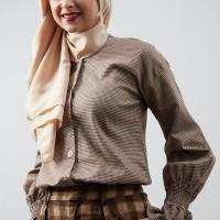 Harga hijabenka lila long bell sleeve houndstooth top | antitipu.com