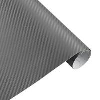 Stiker Carbon Fiber Mobil 3D Multifungsi 127 x 30 CM - GRAY
