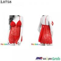 L0758 - Lingerie Babydoll Red Merah Transparan