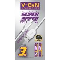 Kabel Data USB Type C V-GeN CT3-01 Fast Charging QC 3.0 VGEN 3 Meter