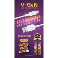 Kabel Data MicroUSB V-GeN CM3-01 Fast Charging QC 3.0 VGEN USB 3 Meter