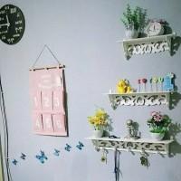 Rak Dinding Gantung Dekorasi Vintage 1set isi 3pcs (ada 5 hook hanger)