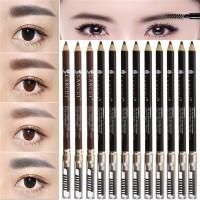 12pcs Eyebrow Pencil Pen with Brush Sharpener Makeup Black