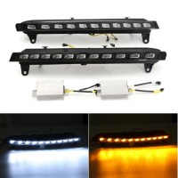 Pair LED White Daytime Running Lights DRL with Yellow Turn
