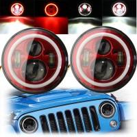 7Inch LED Hi-Lo Beam Headlights Halo Angle Eyes White DRL