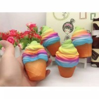 Squishy Ice Cream Cone Rainbow Soft Slow Medium