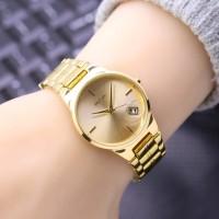 Jam Tangan Wanita Fashion Nixon Date SK505LS Rantai Full Gold