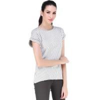 Poneris Stripes Blouse Casual Putih / Fasion Wanita / All Size