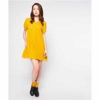 Pum Women Short Sleeve Blouse Casual Yellow / Size Medium Dress