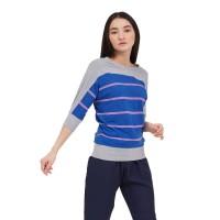 Kaimaru Stripe Light Gray Casual tshirt / Fasion Wanita / All Size