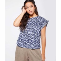 Embroidered Short-sleeve Blouse Casual Biru Navy / Size Small
