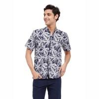 Larvell Shirt Beachwear Biru Navy / Baju Pantai / Kemeja / Size Medium