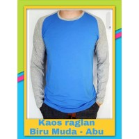 Kaos Atasan Raglan Biru Muda- Abu Muda -Kaos Lengan Panjang SBGD2096