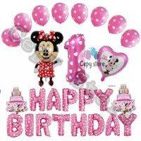 Balon foil set happy birthday / paket ulang tahun minnie mouse