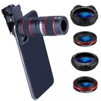 Telephoto Lens Kit 5-in-1 Universal Clip for Mobile Phone - HX-S1248L
