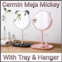 Cermin Rias Meja Mickey Ada Nampan Gantungan Aksesoris Mirror-BS039
