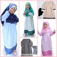 Baju Muslim Setelan Gamis Anak plus Kerudung Garis Renda
