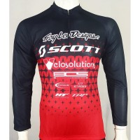 baju Jersey Sepeda Troy Lee -kaos jersey sepeda scott Merah
